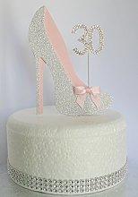 Age 30 Birthday Cake Decoration. 30th Silver Shoe