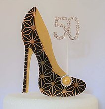 Age 50 Birthday Cake Decoration. 50th Black and