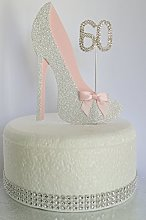 Age 60 Birthday Cake Decoration. 60th Silver Shoe