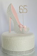 Age 65 Birthday Cake Decoration. 65th Silver Shoe