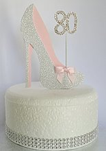 Age 80 Birthday Cake Decoration. 80th Silver Shoe
