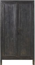 Aged Effect Black Metal 2-Door Wardrobe Sabi