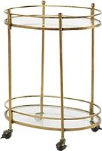 Aged-Effect Brass Metal and Glass Serving Trolley
