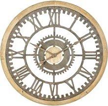 Aged Effect Metal and Fir Cog Clock D100