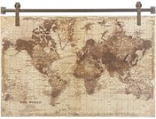Aged Effect World Map Print Wall Art 121x91