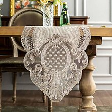 AGLZWY-Table Runner Gray Hollow Lace Embroidered