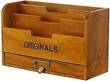 AGWa Desk File Organiser, Solid Wood Retro Storage