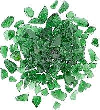 AHANDMAKER Transparent Glass Beads Green Fire
