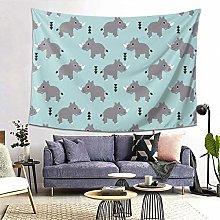 Ahdyr Cute Rhino Tapestry Wall Hanging Home Decor