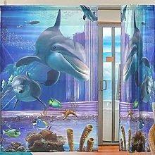 Ahomy 2 Panels Voile Window Curtain 3D Ocean