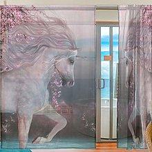 Ahomy 2 Panels Voile Window Curtain Cherry Blossom
