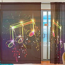 Ahomy 2 Panels Voile Window Curtain Music Notes