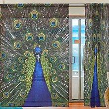 Ahomy 2 Panels Voile Window Curtain Peacock Tulle