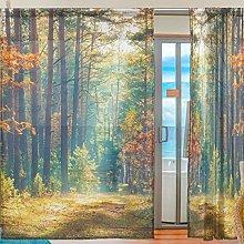 Ahomy 2 Panels Voile Window Curtain Sunrise Autumn