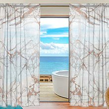 Ahomy 2 PCS Voile Window Curtain, Marble Pattern
