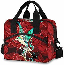 Ahomy 3D Hummingbird Red Rose Picnic Cooler Bag