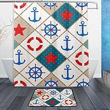 Ahomy Bathroom Curtains Rugs Set of 2, Anchor