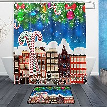 Ahomy Bathroom Curtains Rugs Set of 2, Christmas