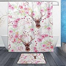 Ahomy Bathroom Curtains Rugs Set of 2, Coral