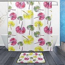 Ahomy Bathroom Curtains Rugs Set of 2, Marble