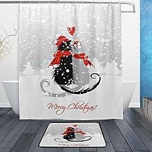 Ahomy Bathroom Curtains Rugs Set of 2, Merry