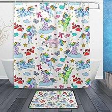 Ahomy Bathroom Curtains Rugs Set of 2, Seahorse