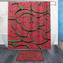 Ahomy Bathroom Curtains Rugs Set of 2, Slices Of