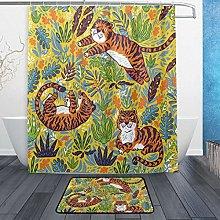 Ahomy Bathroom Curtains Rugs Set of 2, Tiger Leaf