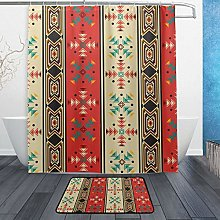 Ahomy Bathroom Curtains Rugs Set of 2, Tribal
