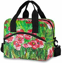 Ahomy Field Poppies in Green Picnic Cooler Bag