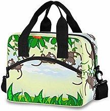 Ahomy Funny Monkey Green Leaf Picnic Cooler Bag