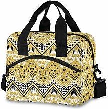 Ahomy Gold Black African Art Picnic Cooler Bag