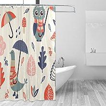 Ahomy Shower Curtain Cute Owl Cartoon Bird