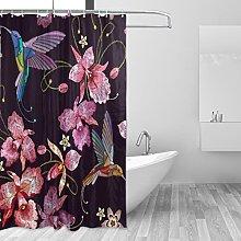 Ahomy Shower Curtain, Flower Hummingbirds
