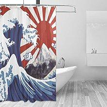 Ahomy Shower Curtain, Sea Wave Japan Flag