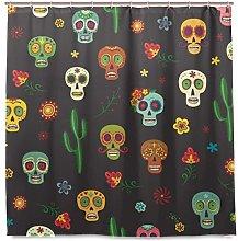 Ahomy Shower Curtains Mexican Sugar Skull Cacti