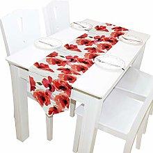 Ahomy Table Runner Watercolor Poppy Flowers Floral