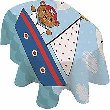 Ahoy Its a Boy Oval Tablecloth,Cute Baby Shower