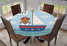 Ahoy Its a Boy Round Tablecloth,Cute Baby Shower