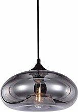 Ahzhlb Glass Pendant Light, Drum Lamp Smoky Gray