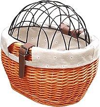 aianle Wicker Bike Basket for Small Dogs Cats Pet