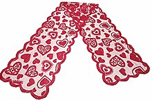 Aiasiry Valentines Table Cloth Red Heart Print