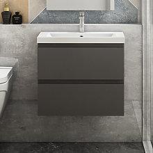 Aica - 500mm Grey Floating Bathroom Wall Basin