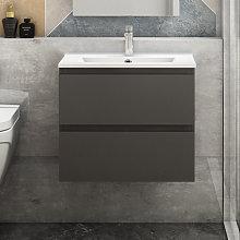 Aica - 600mm Grey Floating Bathroom Wall Basin