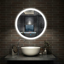 Aica - Round Illuminated Bathroom Mirror with