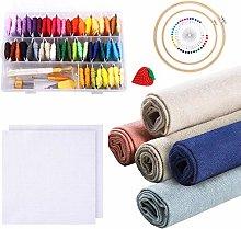 Aida Cross Stitch Fabric Embroidery Kit, 50 Colors