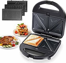 Aigostar 3-in-1 Sandwich Toaster, Grill, Waffle