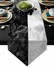 AILY White Black Marble Natural Table Runner