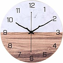 AIOJY Metal Wall Clock Marbling Wood Grain