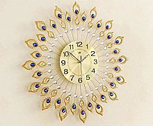 AIOJY Metal Wall Clock Peacock Feather Wall Clock